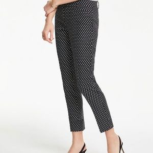 Ann Taylor Crop Pants: 8 Petite, Navy Blue / Cream